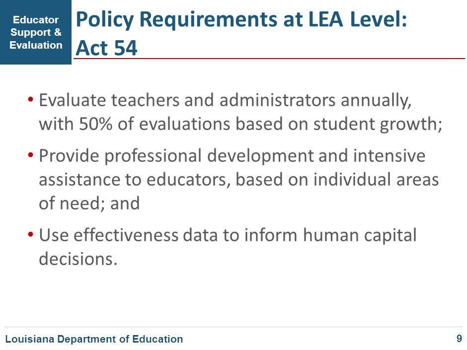 Educator Support & Evaluation Policy Requirements at LEA Level: Act 54 Evaluate teachers and administrators annually, with 50% of evaluations based on