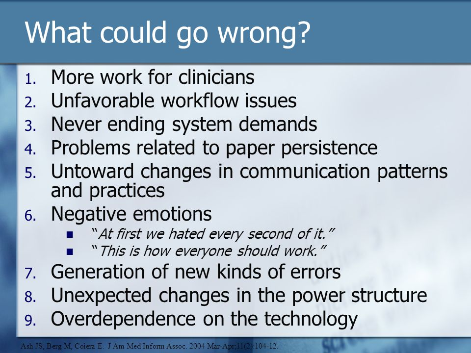 What could go wrong. 1. More work for clinicians 2.