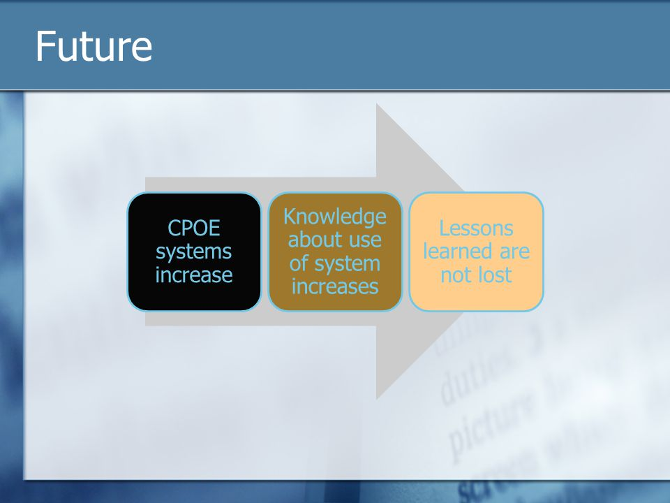 Future CPOE systems increase Knowledge about use of system increases Lessons learned are not lost