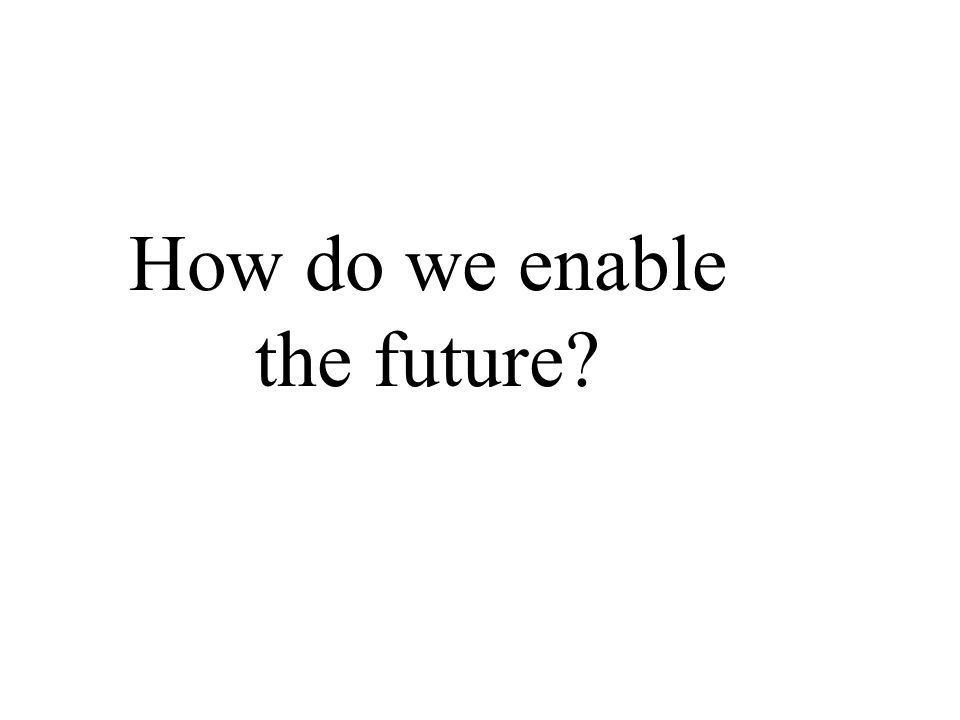 How do we enable the future