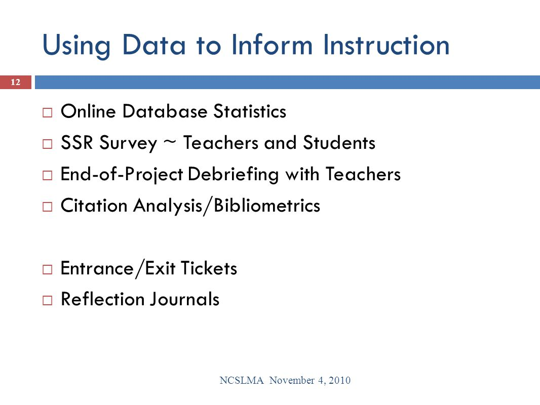 Using Data to Inform Instruction  Online Database Statistics  SSR Survey ~ Teachers and Students  End-of-Project Debriefing with Teachers  Citatio
