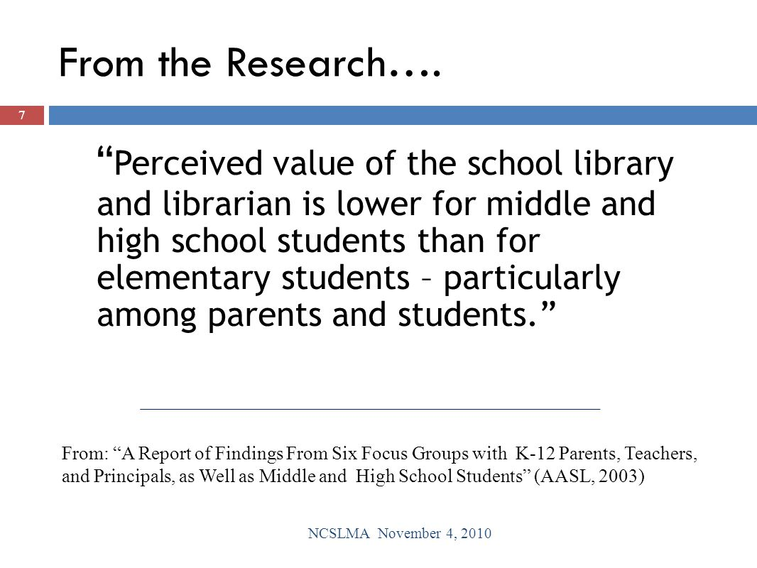 How can school librarians share that data with key stakeholders? 38 NCSLMA November 4, 2010