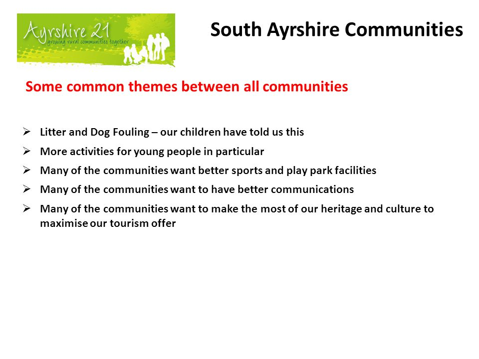 Some common themes between all communities  Litter and Dog Fouling – our children have told us this  More activities for young people in particular
