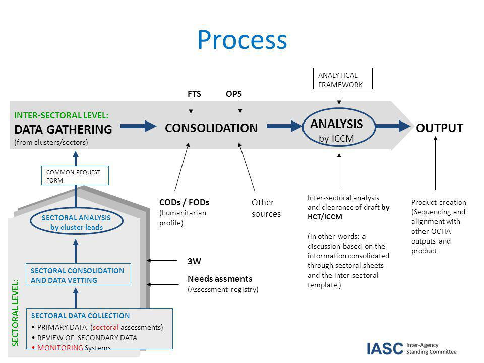Process COMMON REQUEST FORM INTER-SECTORAL LEVEL: DATA GATHERING (from clusters/sectors) CONSOLIDATION ANALYSIS by ICCM OUTPUT FTS OPS CODs / FODs (humanitarian profile) Needs assments (Assessment registry) ANALYTICAL FRAMEWORK Inter-sectoral analysis and clearance of draft by HCT/ICCM (in other words: a discussion based on the information consolidated through sectoral sheets and the inter-sectoral template ) Product creation (Sequencing and alignment with other OCHA outputs and product Other sources 3W SECTORAL DATA COLLECTION PRIMARY DATA (sectoral assessments) REVIEW OF SECONDARY DATA MONITORING Systems SECTORAL LEVEL: SECTORAL CONSOLIDATION AND DATA VETTING SECTORAL ANALYSIS by cluster leads