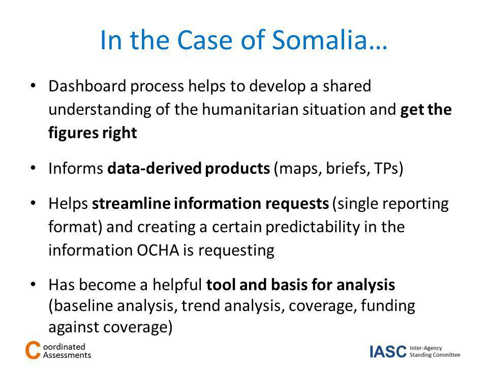 In the Case of Somalia… Dashboard process helps to develop a shared understanding of the humanitarian situation and get the figures right Informs data-derived products (maps, briefs, TPs) Helps streamline information requests (single reporting format) and creating a certain predictability in the information OCHA is requesting Has become a helpful tool and basis for analysis (baseline analysis, trend analysis, coverage, funding against coverage)