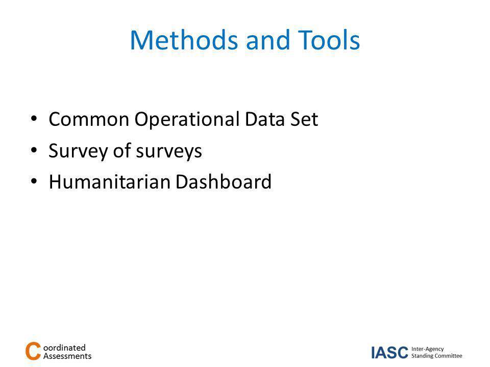 Methods and Tools Common Operational Data Set Survey of surveys Humanitarian Dashboard