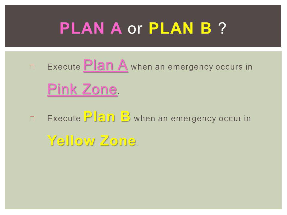 Plan A Pink Zone ä Execute Plan A when an emergency occurs in Pink Zone.