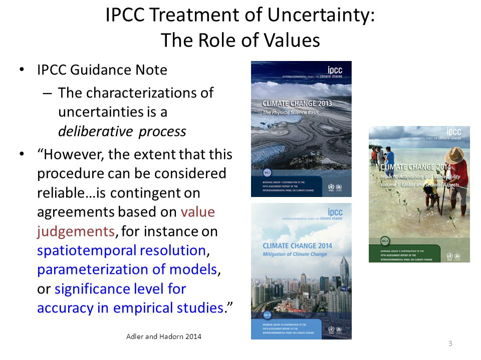 IPCC Treatment of Uncertainty: The Role of Values IPCC Guidance Note – The characterizations of uncertainties is a deliberative process However, the extent that this procedure can be considered reliable…is contingent on agreements based on value judgements, for instance on spatiotemporal resolution, parameterization of models, or significance level for accuracy in empirical studies. 3 Adler and Hadorn 2014