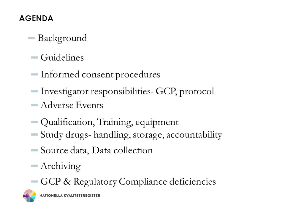 AGENDA Background Guidelines Informed consent procedures Investigator responsibilities- GCP, protocol Adverse Events Qualification, Training, equipmen