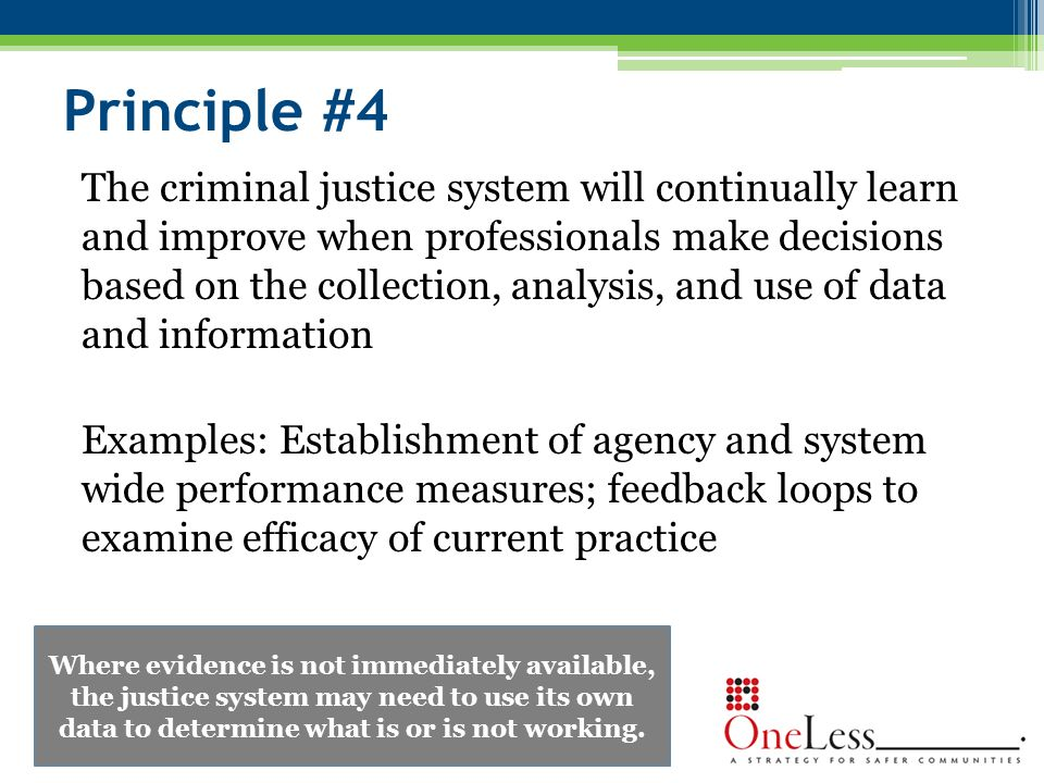 Principle #4 The criminal justice system will continually learn and improve when professionals make decisions based on the collection, analysis, and use of data and information Examples: Establishment of agency and system wide performance measures; feedback loops to examine efficacy of current practice Where evidence is not immediately available, the justice system may need to use its own data to determine what is or is not working.