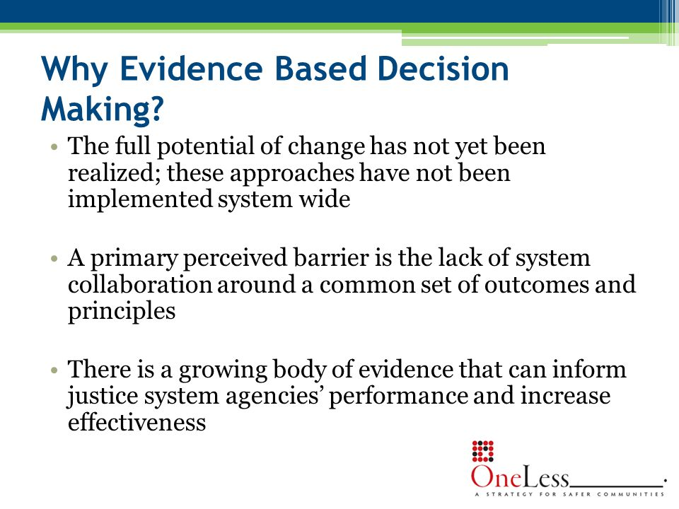 Why Evidence Based Decision Making.