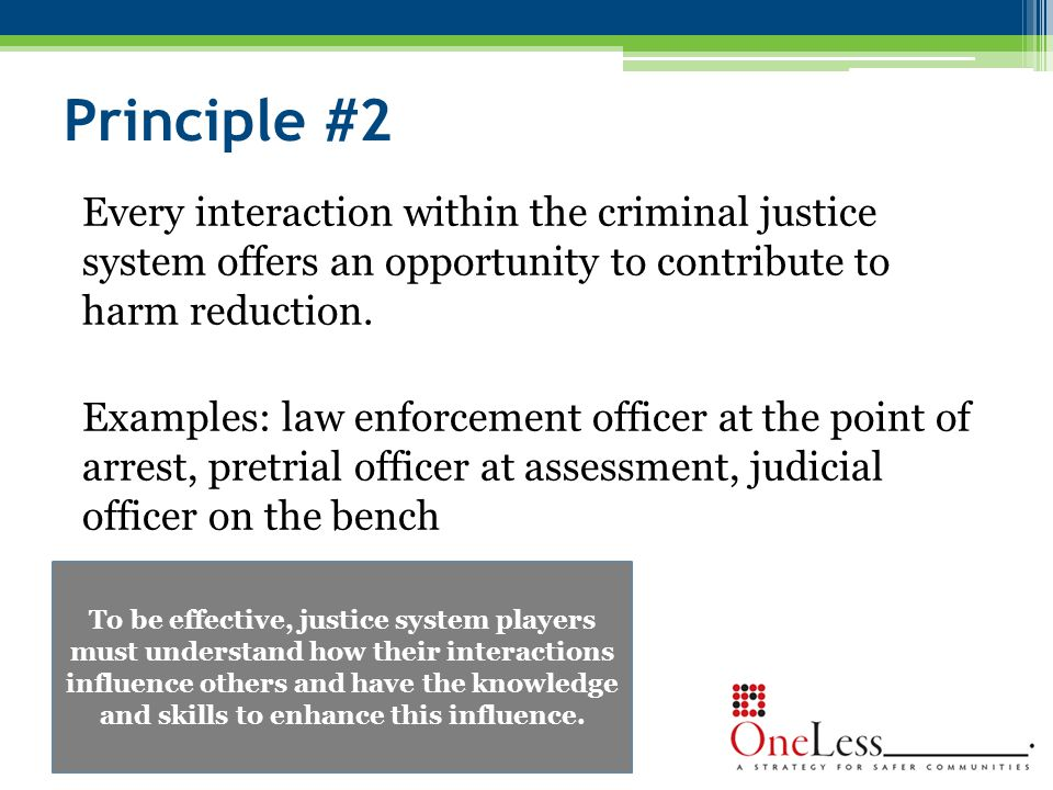 Principle #2 Every interaction within the criminal justice system offers an opportunity to contribute to harm reduction.