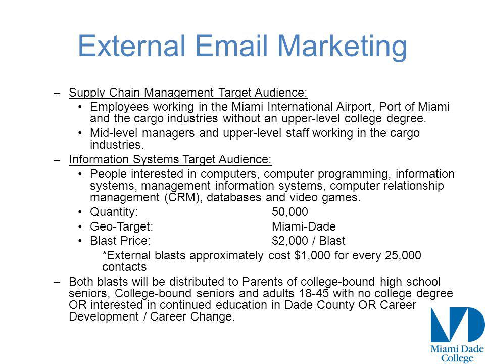 External Email Marketing –Supply Chain Management Target Audience: Employees working in the Miami International Airport, Port of Miami and the cargo industries without an upper-level college degree.