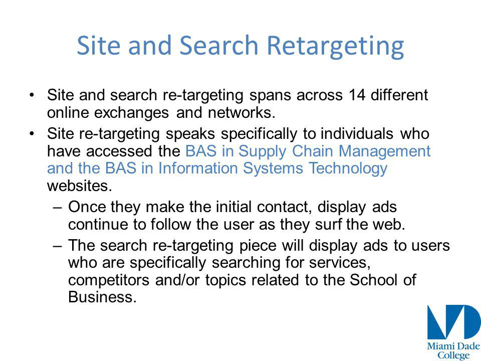 Site and search re-targeting spans across 14 different online exchanges and networks.