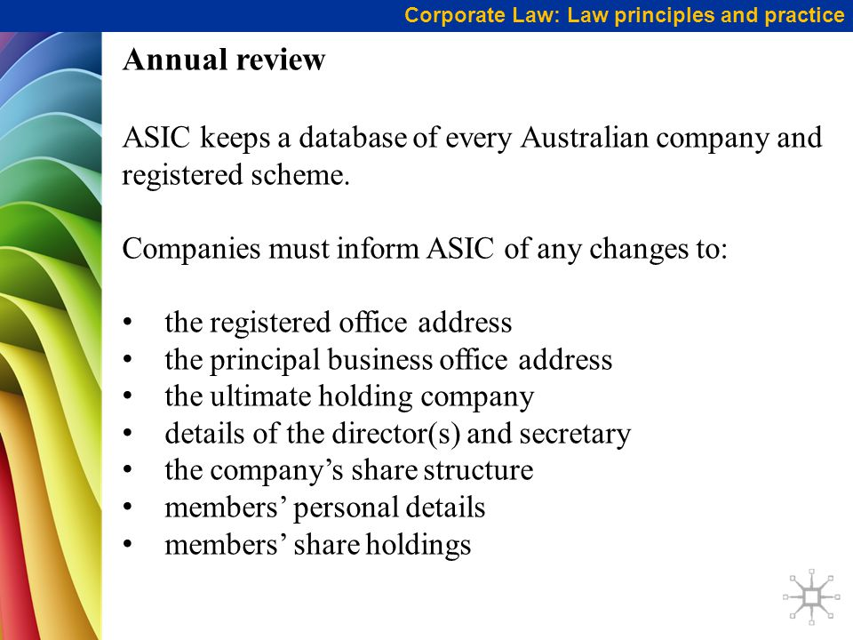 Corporate Law: Law principles and practice Annual review ASIC keeps a database of every Australian company and registered scheme.