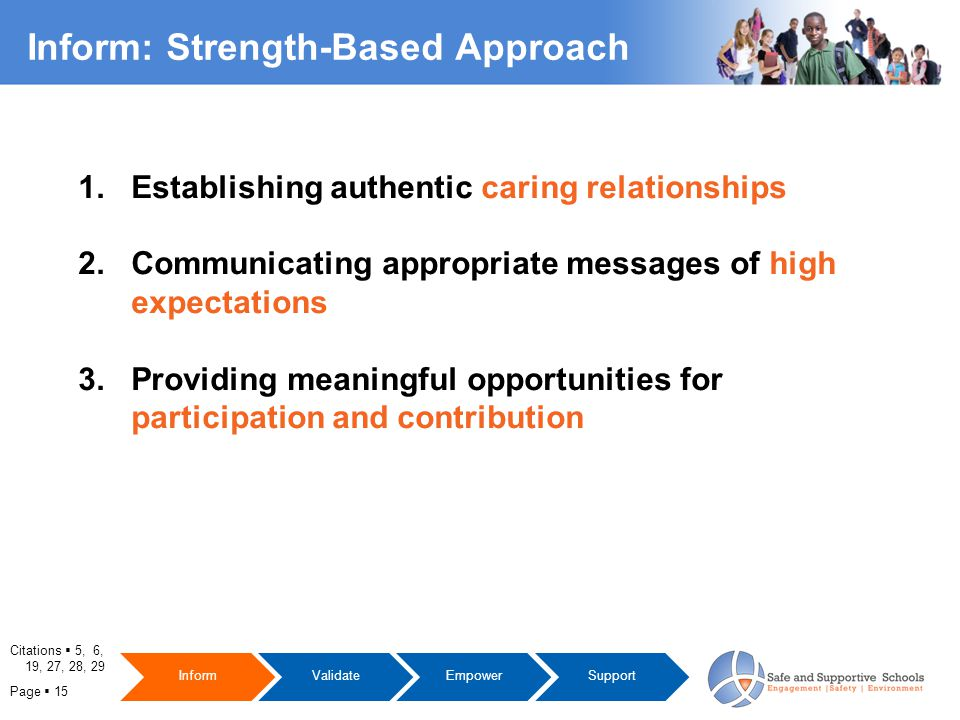 Page  15 Inform: Strength-Based Approach 1. Establishing authentic caring relationships 2.