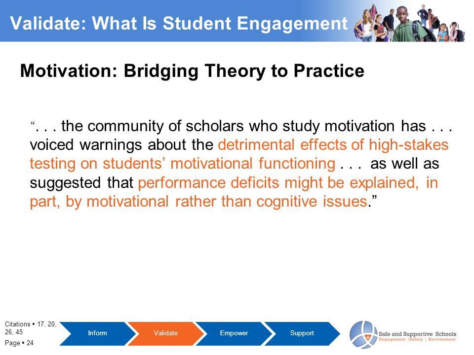 Page  24 Validate: What Is Student Engagement Motivation: Bridging Theory to Practice ...
