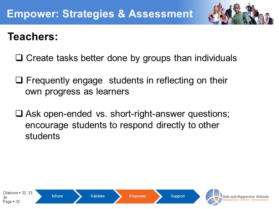 Page  32 Empower: Strategies & Assessment  Create tasks better done by groups than individuals  Frequently engage students in reflecting on their own progress as learners  Ask open-ended vs.