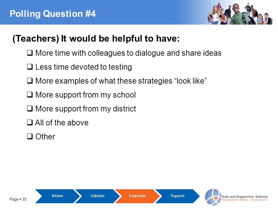 Polling Question #4 Page  35 (Teachers) It would be helpful to have:  More time with colleagues to dialogue and share ideas  Less time devoted to testing  More examples of what these strategies look like  More support from my school  More support from my district  All of the above  Other InformValidateEmpowerSupport