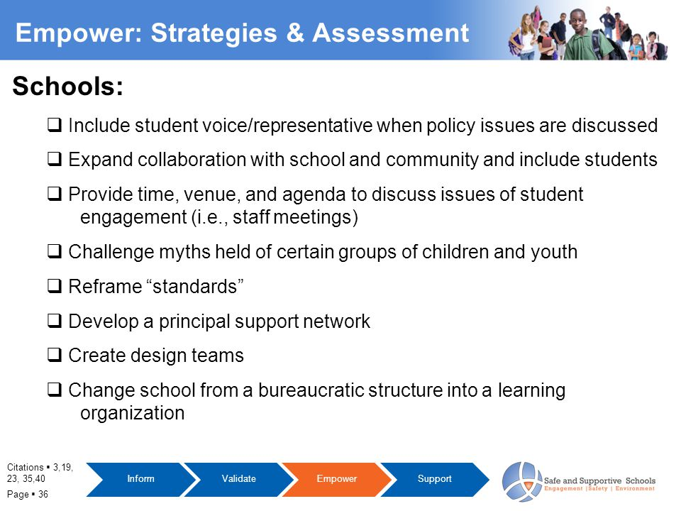 Page  36 Empower: Strategies & Assessment Citations  3,19, 23, 35,40 Schools:  Include student voice/representative when policy issues are discussed  Expand collaboration with school and community and include students  Provide time, venue, and agenda to discuss issues of student engagement (i.e., staff meetings)  Challenge myths held of certain groups of children and youth  Reframe standards  Develop a principal support network  Create design teams  Change school from a bureaucratic structure into a learning organization InformValidateEmpowerSupport