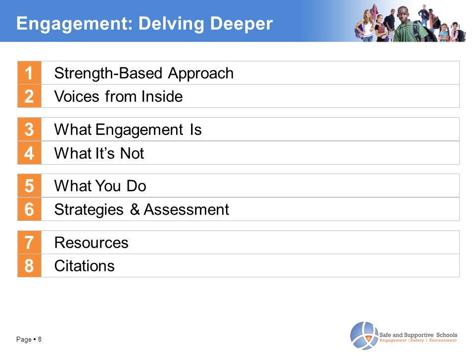 Page  8 Engagement: Delving Deeper Voices from Inside What Engagement Is What It's Not What You Do 1 2 3 4 5 Strategies & Assessment Resources Citations 6 7 8 Strength-Based Approach
