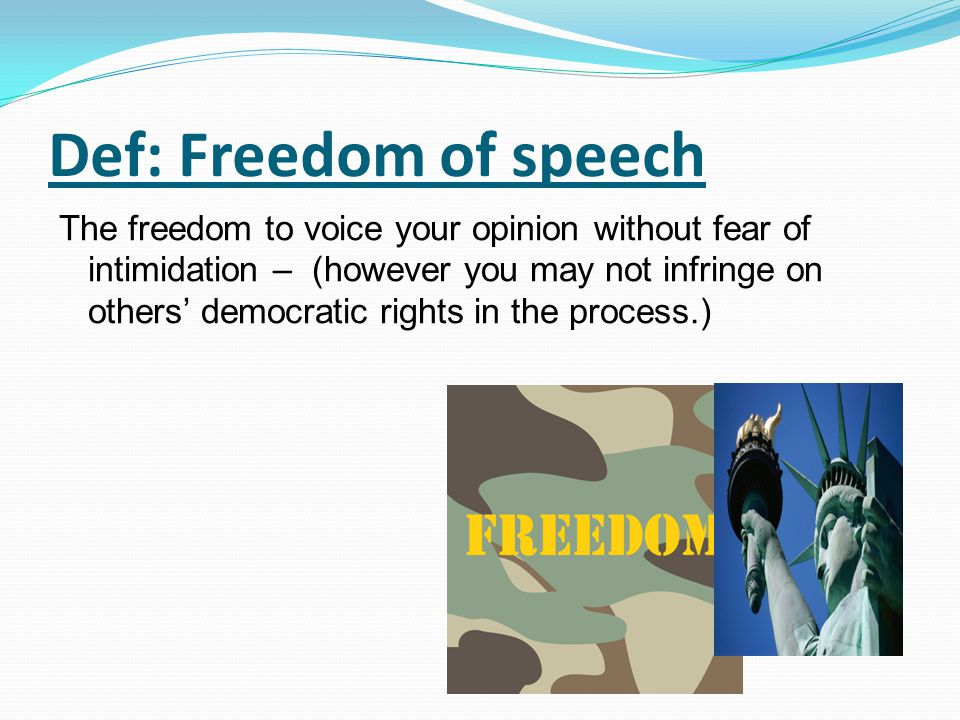 Def: Freedom of speech The freedom to voice your opinion without fear of intimidation – (however you may not infringe on others' democratic rights in
