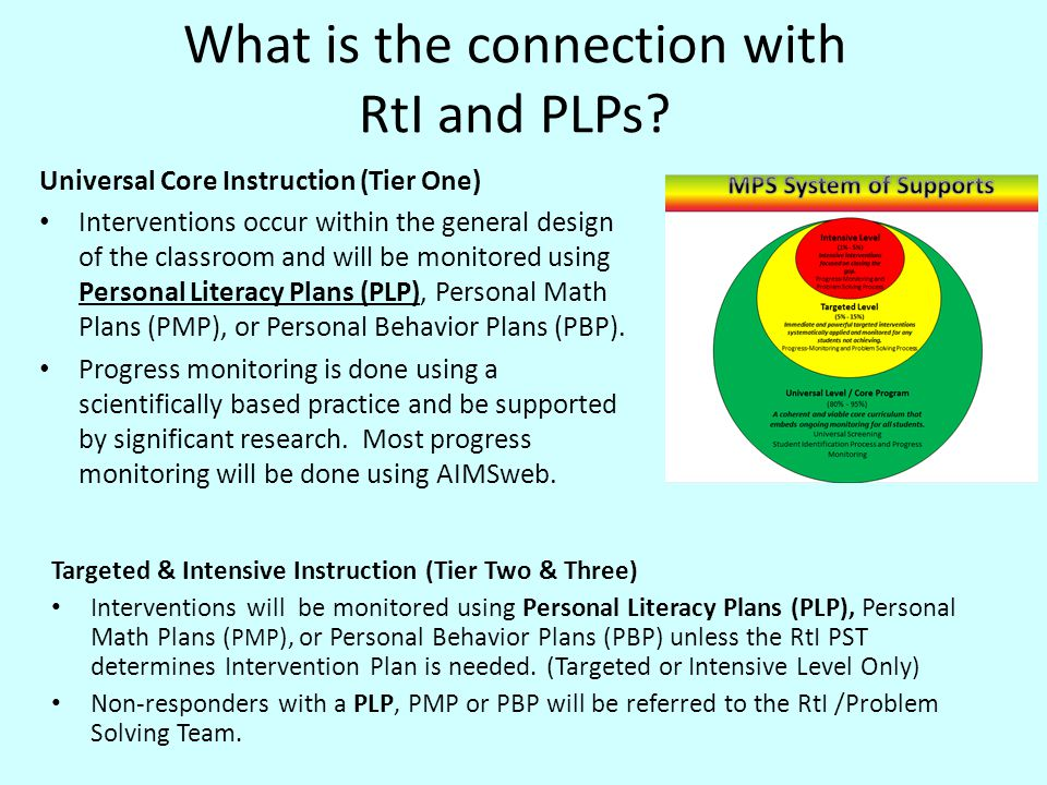 Major Components of a PLP Intervention Additional, intensive, focused and appropriate instruction provided to students who are struggling with learning to read and write.