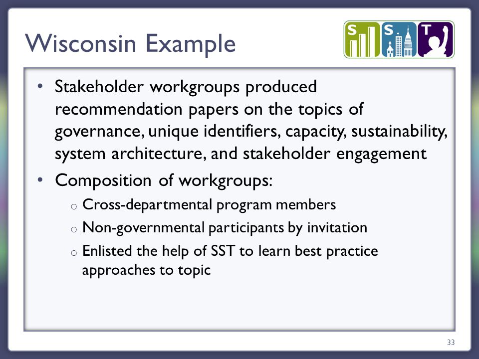 Stakeholder workgroups produced recommendation papers on the topics of governance, unique identifiers, capacity, sustainability, system architecture, and stakeholder engagement Composition of workgroups: o Cross-departmental program members o Non-governmental participants by invitation o Enlisted the help of SST to learn best practice approaches to topic Wisconsin Example 33