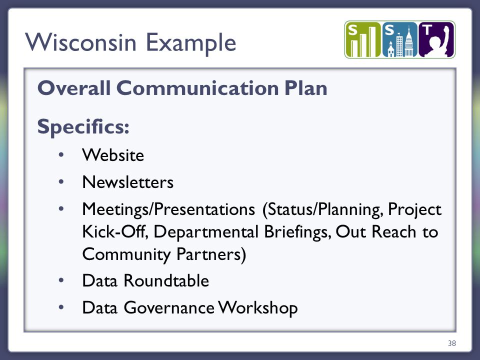 Overall Communication Plan Specifics: Website Newsletters Meetings/Presentations (Status/Planning, Project Kick-Off, Departmental Briefings, Out Reach to Community Partners) Data Roundtable Data Governance Workshop Wisconsin Example 38