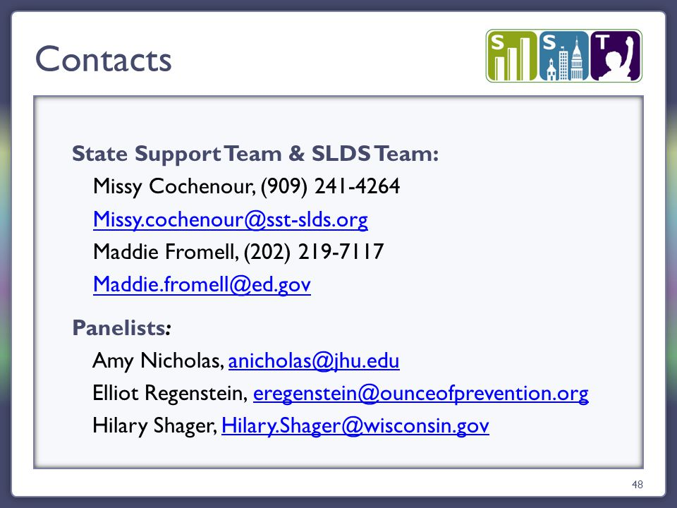 State Support Team & SLDS Team: Missy Cochenour, (909) 241-4264 Missy.cochenour@sst-slds.org Maddie Fromell, (202) 219-7117 Maddie.fromell@ed.gov Pane