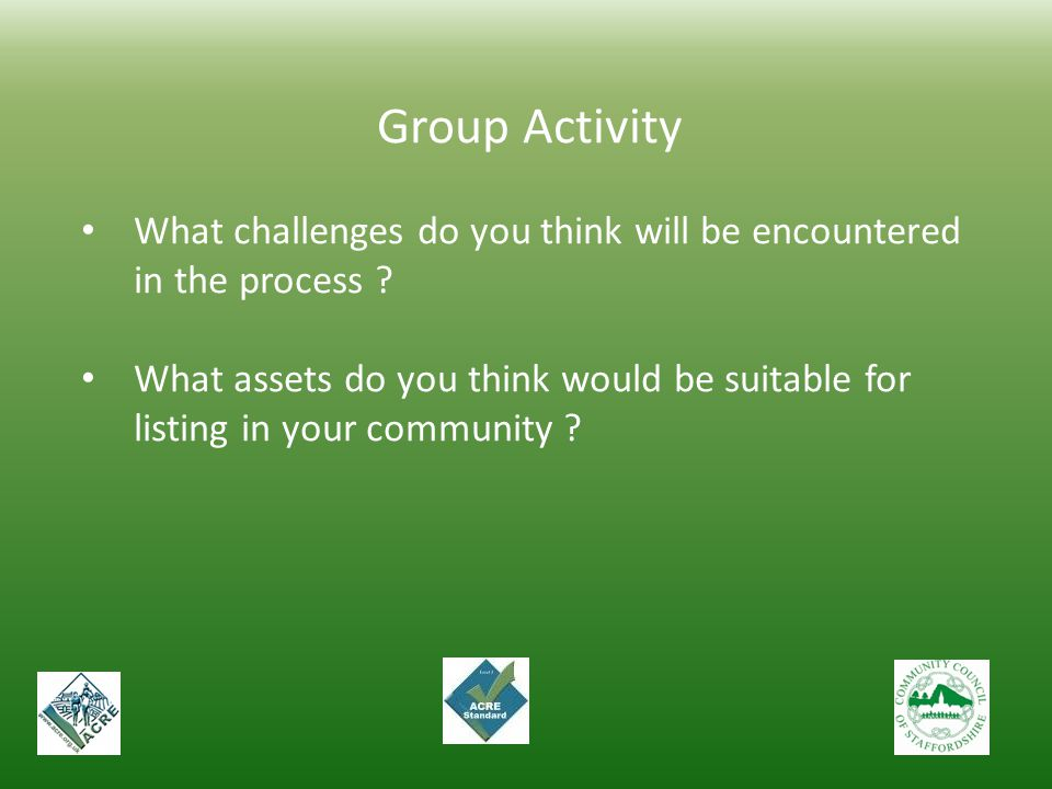 Group Activity What challenges do you think will be encountered in the process ? What assets do you think would be suitable for listing in your commun