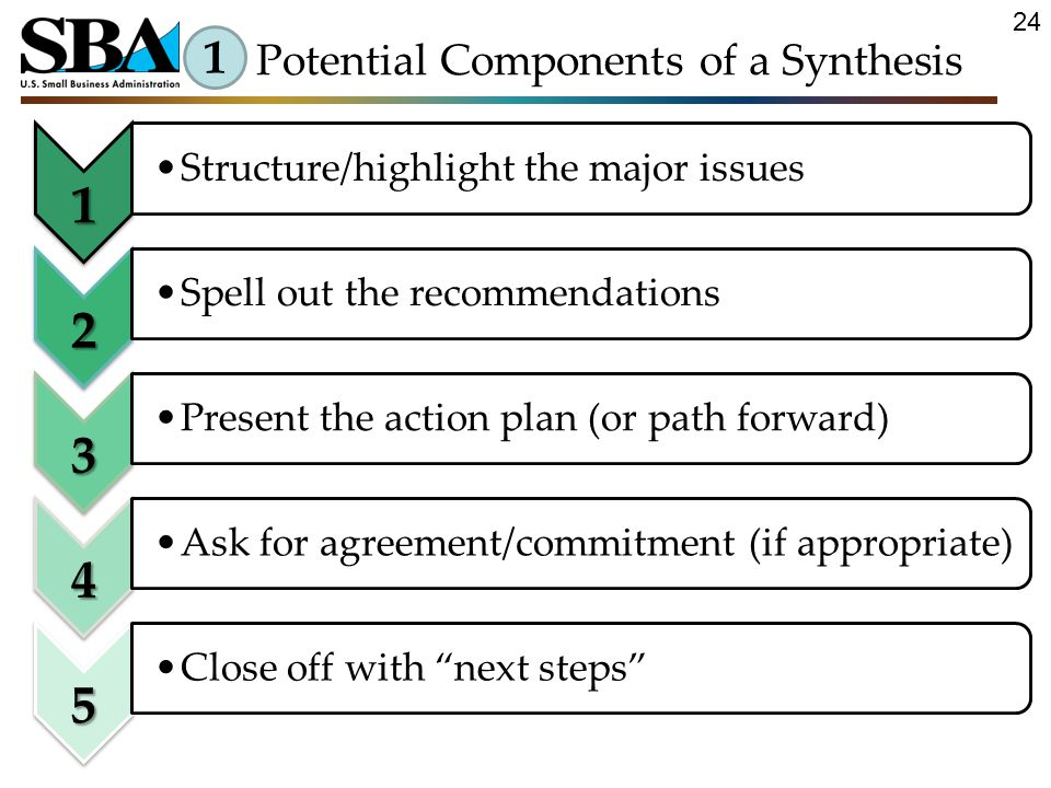 1 Structure/highlight the major issues 2 Spell out the recommendations 3 Present the action plan (or path forward) 4 Ask for agreement/commitment (if appropriate) 5 Close off with next steps 1 Potential Components of a Synthesis 24
