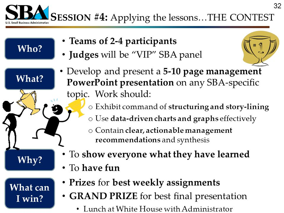 Teams of 2-4 participants Judges will be VIP SBA panel Who.