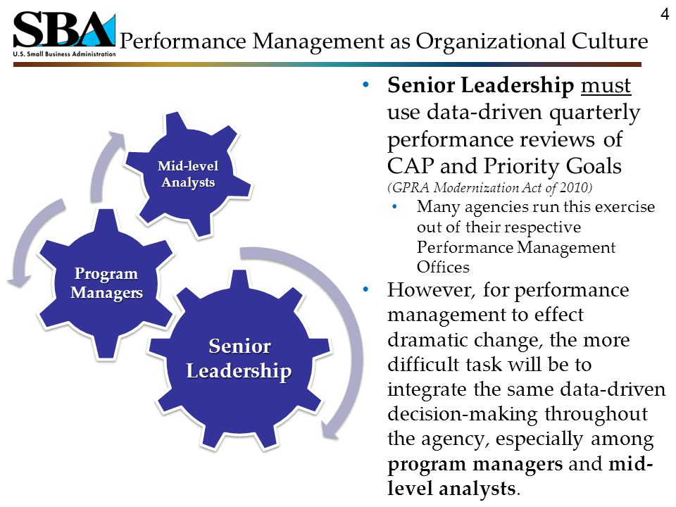 Performance Management as Organizational Culture Senior Leadership must use data-driven quarterly performance reviews of CAP and Priority Goals (GPRA Modernization Act of 2010) Many agencies run this exercise out of their respective Performance Management Offices However, for performance management to effect dramatic change, the more difficult task will be to integrate the same data-driven decision-making throughout the agency, especially among program managers and mid- level analysts.
