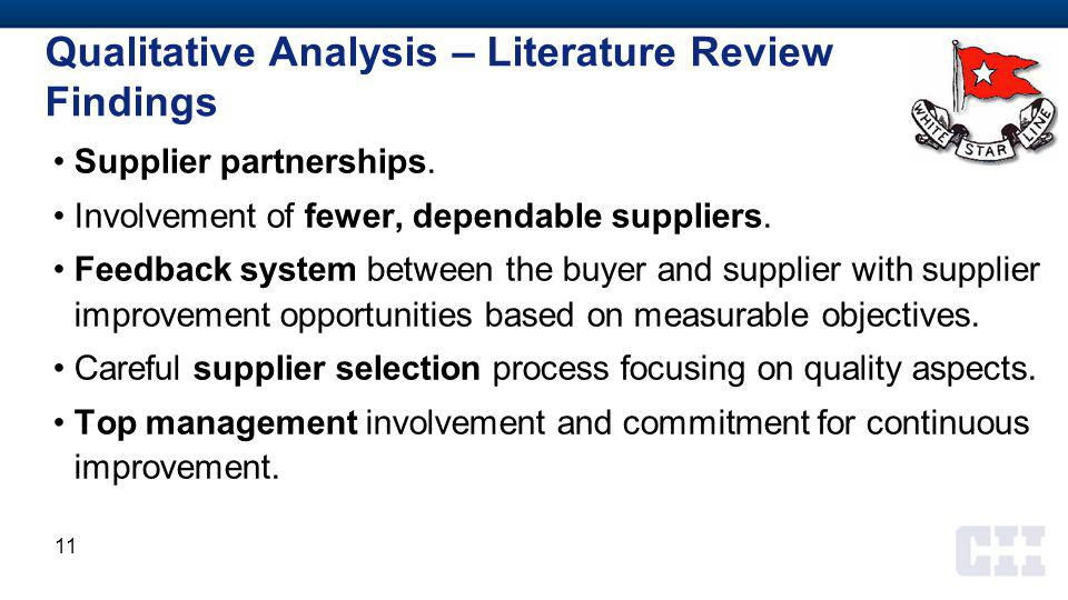 Supplier partnerships. Involvement of fewer, dependable suppliers.