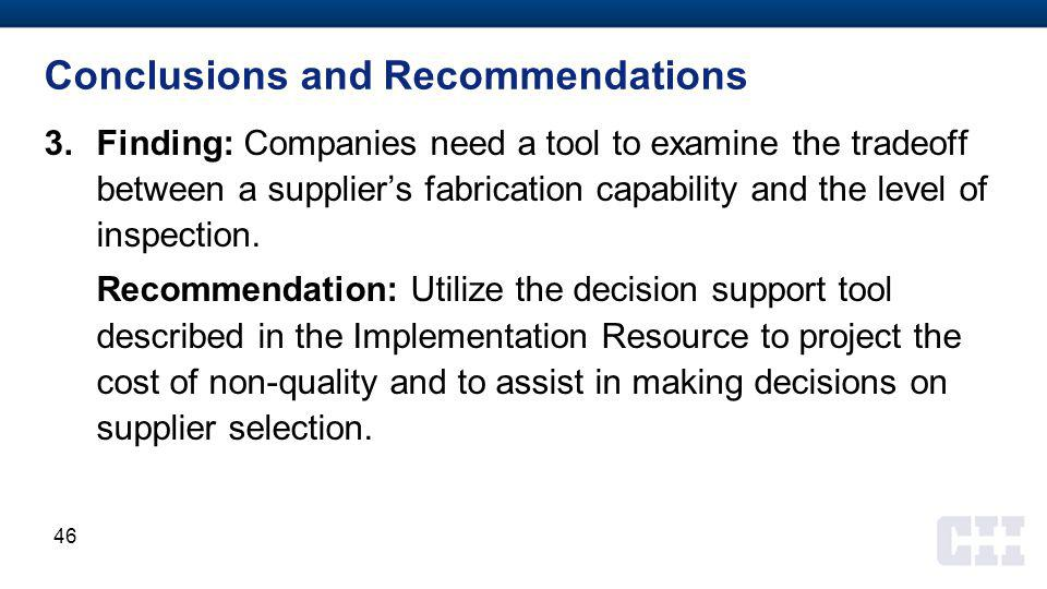 Conclusions and Recommendations 3.Finding: Companies need a tool to examine the tradeoff between a supplier's fabrication capability and the level of inspection.
