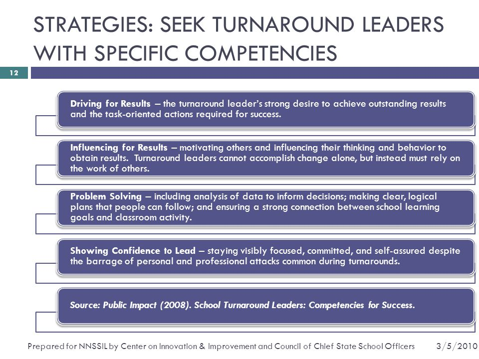 STRATEGIES: SEEK TURNAROUND LEADERS WITH SPECIFIC COMPETENCIES Driving for Results – the turnaround leader's strong desire to achieve outstanding results and the task-oriented actions required for success.