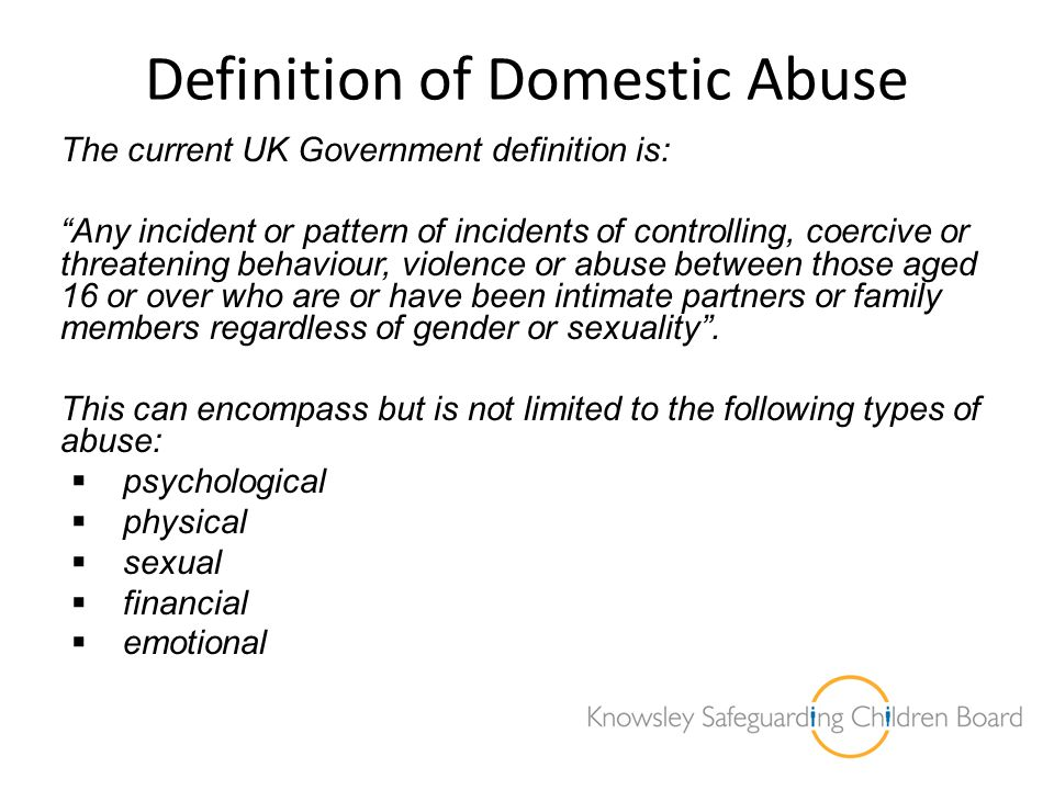 Aims of Needs Assessment The aims of the Independent needs assessment are: To assess the levels of domestic abuse and health and wellbeing needs of those affected in Knowsley To identify the causes and drivers of domestic abuse To explore the links between domestic abuse and other risk taking behaviours To investigate the extent to which current service provision is addressing the needs.