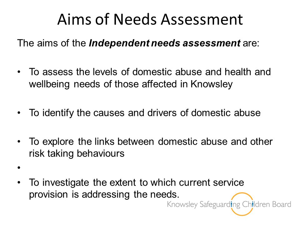 The Needs Assessment Process Covers all individuals directly and indirectly affected by domestic abuse.
