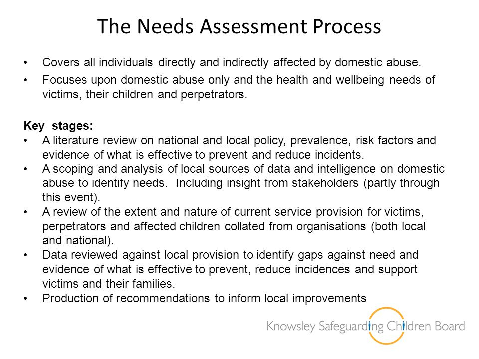 The Needs Assessment Process Covers all individuals directly and indirectly affected by domestic abuse. Focuses upon domestic abuse only and the healt