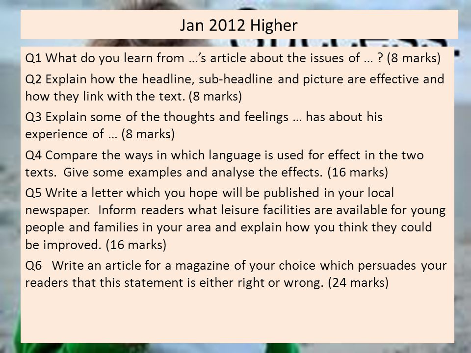 Jan 2012 Higher Q1 What do you learn from …'s article about the issues of … .