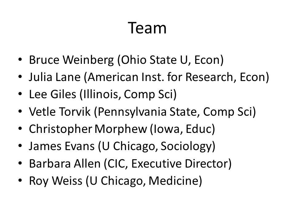 Team Bruce Weinberg (Ohio State U, Econ) Julia Lane (American Inst.
