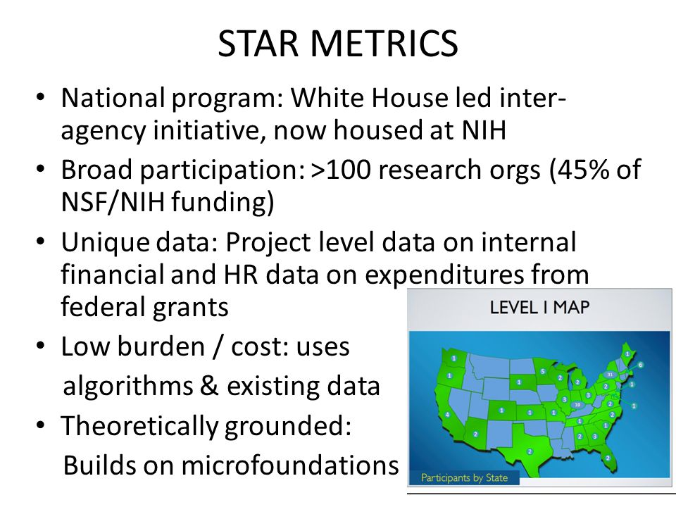STAR METRICS National program: White House led inter- agency initiative, now housed at NIH Broad participation: >100 research orgs (45% of NSF/NIH funding) Unique data: Project level data on internal financial and HR data on expenditures from federal grants Low burden / cost: uses algorithms & existing data Theoretically grounded: Builds on microfoundations