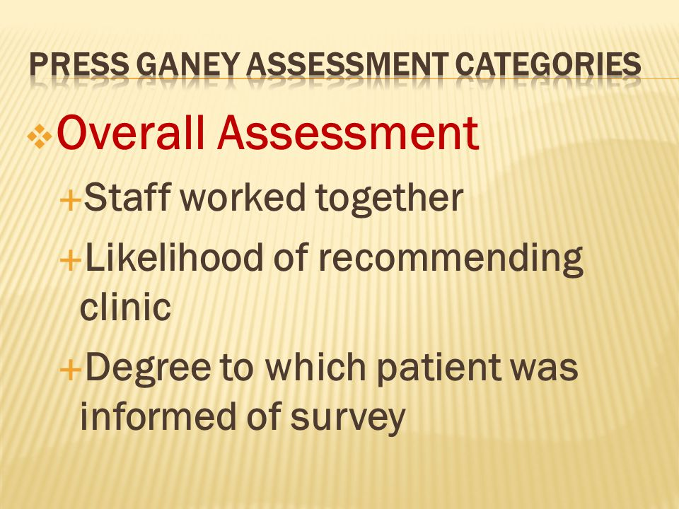  Overall Assessment  Staff worked together  Likelihood of recommending clinic  Degree to which patient was informed of survey