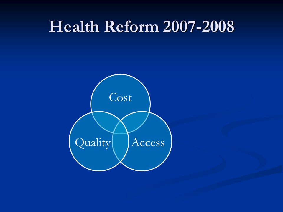 Health Reform 2007-2008 Cost AccessQuality