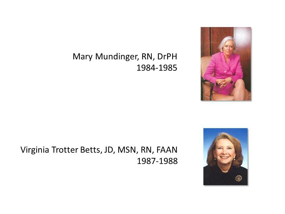 Mary Mundinger, RN, DrPH 1984-1985 Virginia Trotter Betts, JD, MSN, RN, FAAN 1987-1988