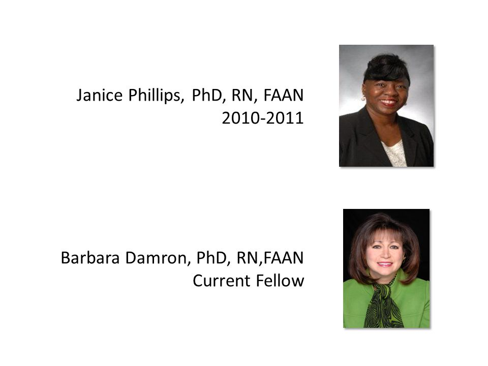 Janice Phillips, PhD, RN, FAAN 2010-2011 Barbara Damron, PhD, RN,FAAN Current Fellow