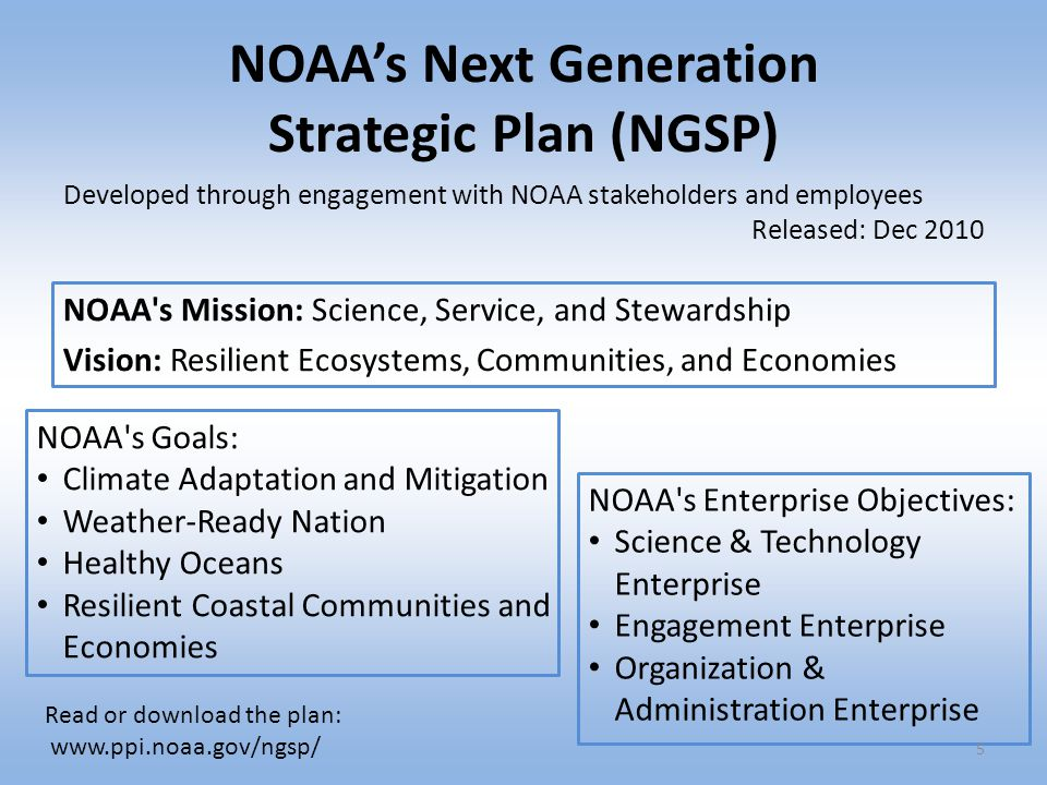 NOAA's Next Generation Strategic Plan (NGSP) NOAA's Mission: Science, Service, and Stewardship Vision: Resilient Ecosystems, Communities, and Economie