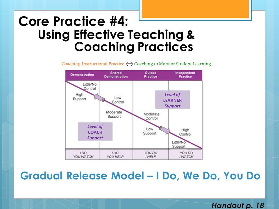 Core Practice #4: Using Effective Teaching & Coaching Practices Gradual Release Model – I Do, We Do, You Do Handout p. 18