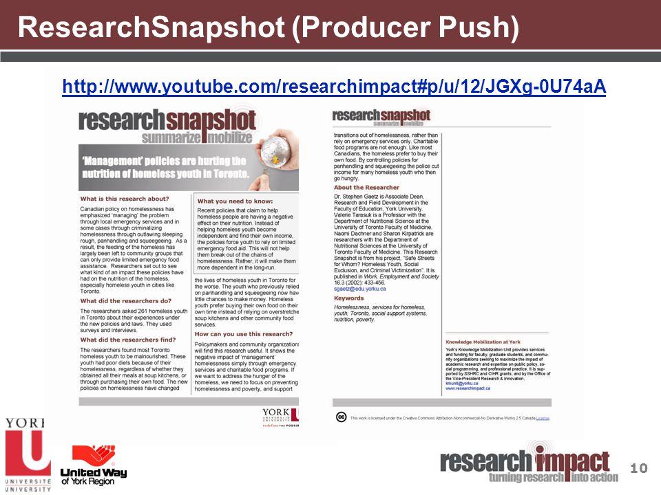 10 ResearchSnapshot (Producer Push) http://www.youtube.com/researchimpact#p/u/12/JGXg-0U74aA